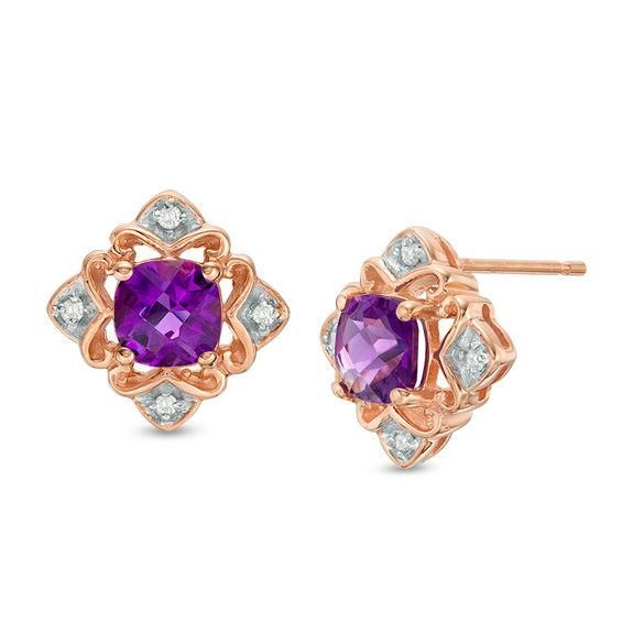 Zales 5.0mm Amethyst and Diamond Accent Frame Stud Earrings in Sterling Silver 6VmEIPRK