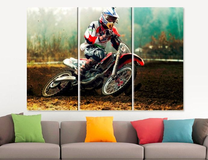 Motocross Canvas Print Motorcycle Gift Home Wall