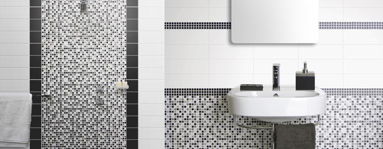 Grey White And Black Tile Paintingbathroom