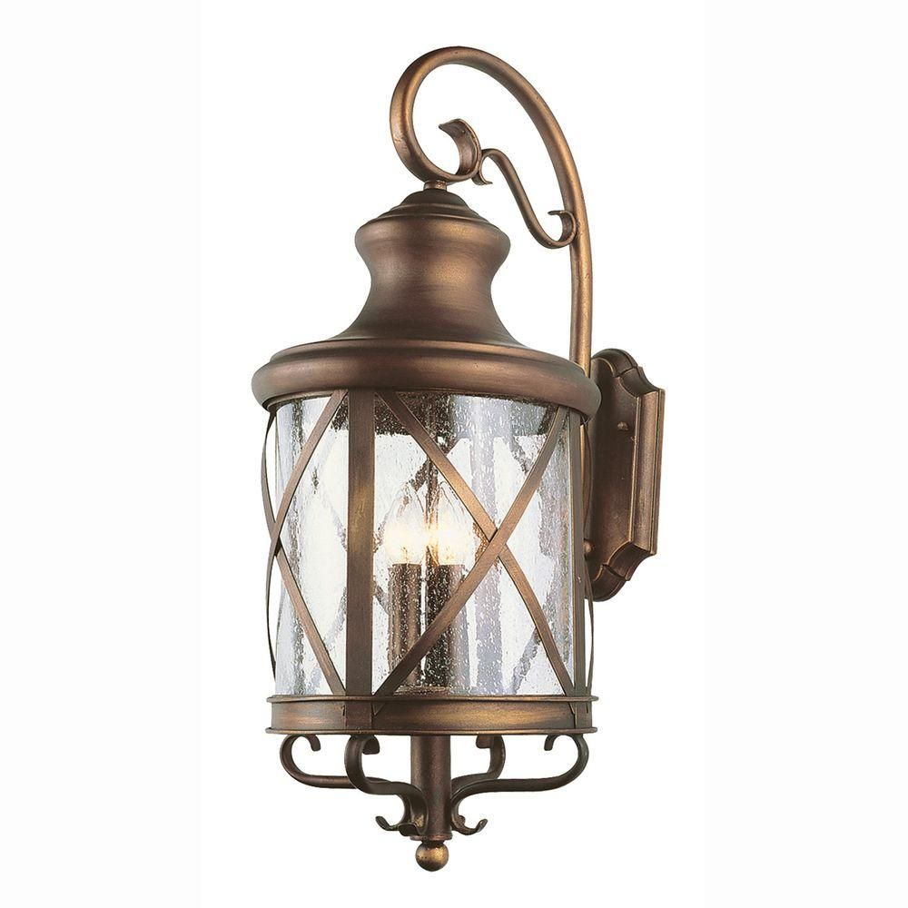 278dda57127 Bel Air Lighting Carriage House 4-Light Outdoor Antique Copper Coach Lantern  with Seeded Glass-5122 AC at The Home Depot