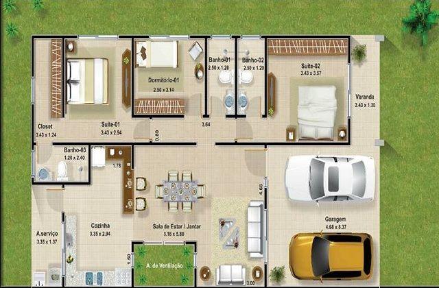 Plano de casa de 120 m2 muebles pinterest house for Distribuir casa planos