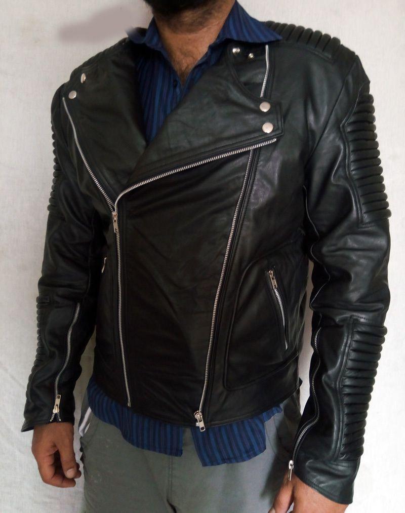 Black Leather Jacket Zipper Ribbed Leather Jacket Men Jacketouter Shell Blue Brando Look Two Side Pock Leather Jacket Men Leather Jacket Ribbed Leather Jacket [ 1013 x 800 Pixel ]