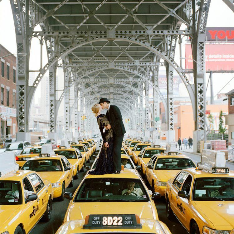 Rodney Smith Edythe And Andrew Kissing On Top Of Taxis New York