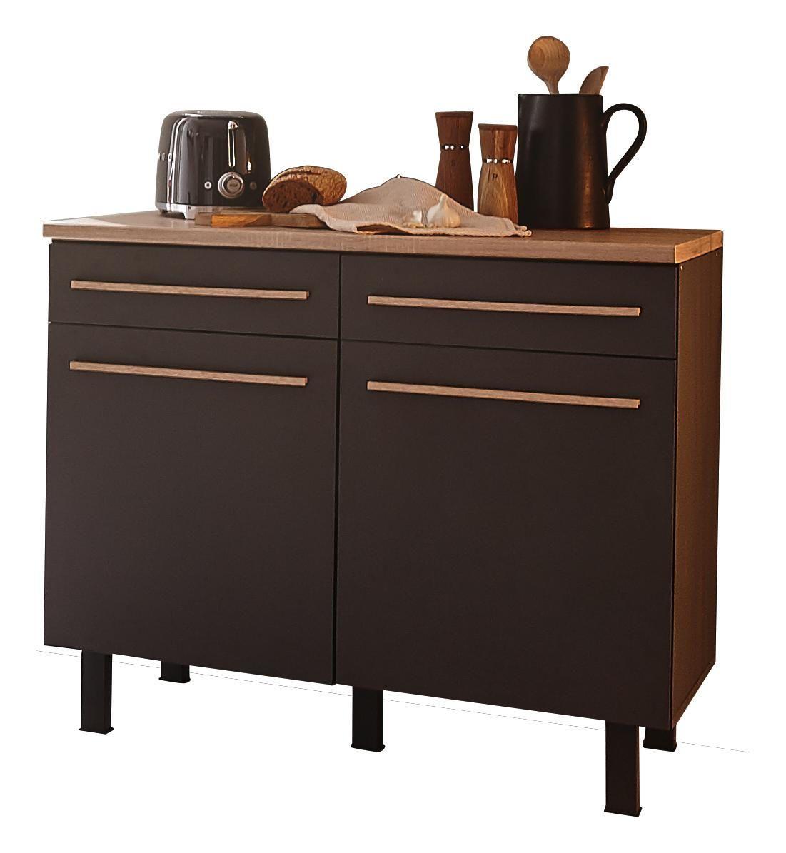Kuchenunterschrank In Grau Und Eichefarben Fur Eine Moderne Kochoase Kuchenunterschrank Kaffee Bar Schrank