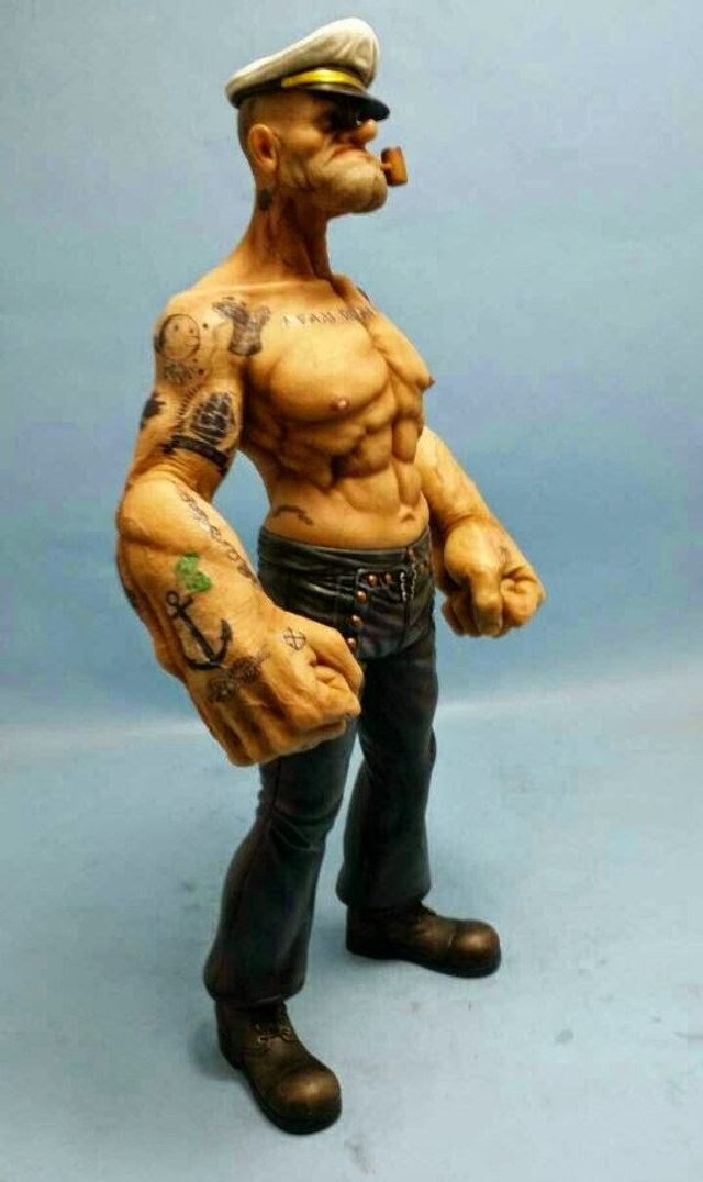 Crazy Looking Realistic Popeye Figurine Figures Toys And
