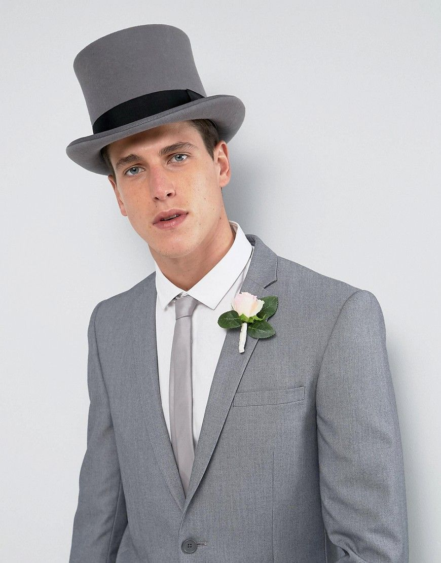 Asos wedding top hat in gray felt gray amazing hats pinterest