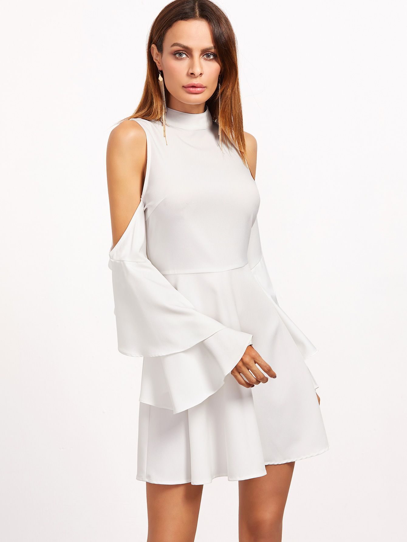Shop White Cold Shoulder Layered Ruffle Sleeve Dress