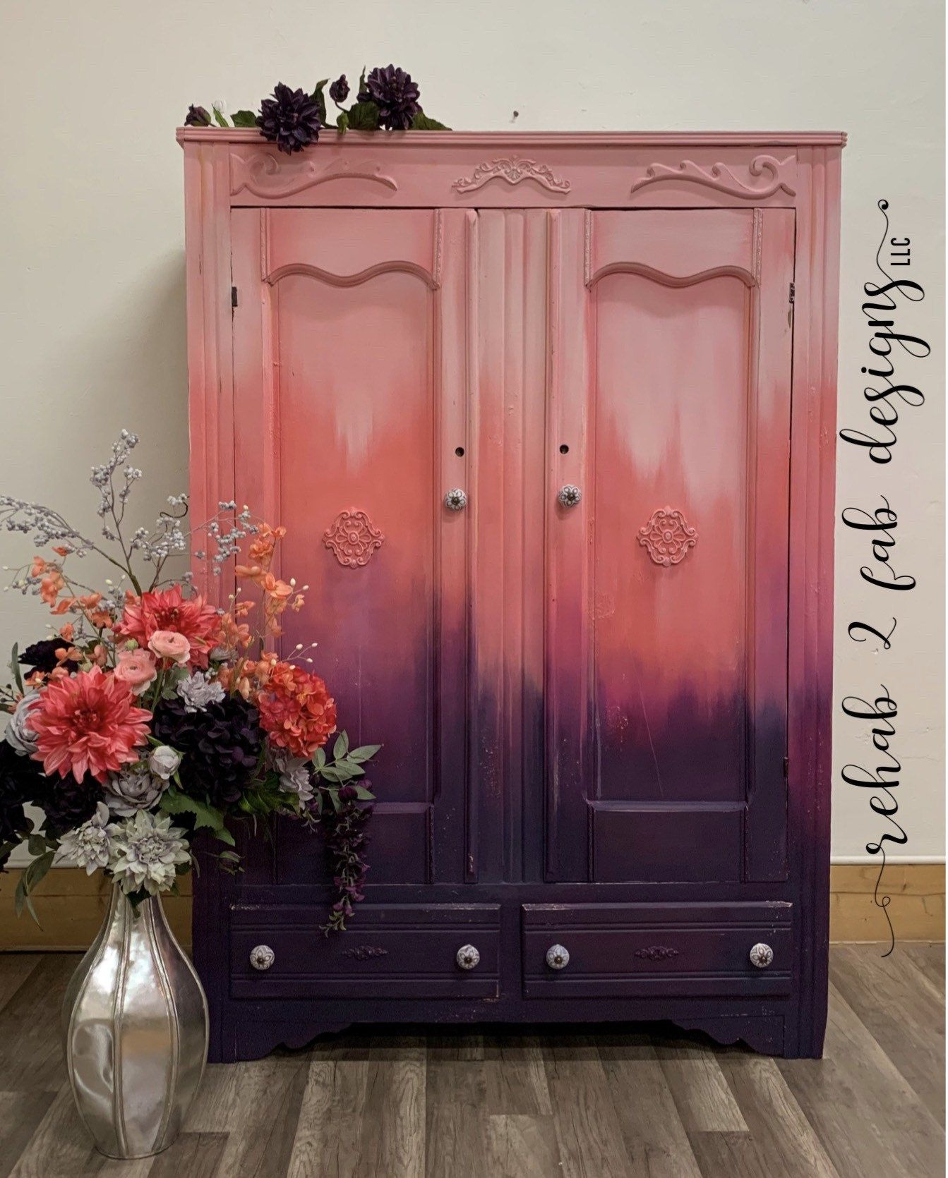 Antique Painted Oak Armoire Etsy In 2020 Antique Paint Complimentary Colors Hand Painted Furniture