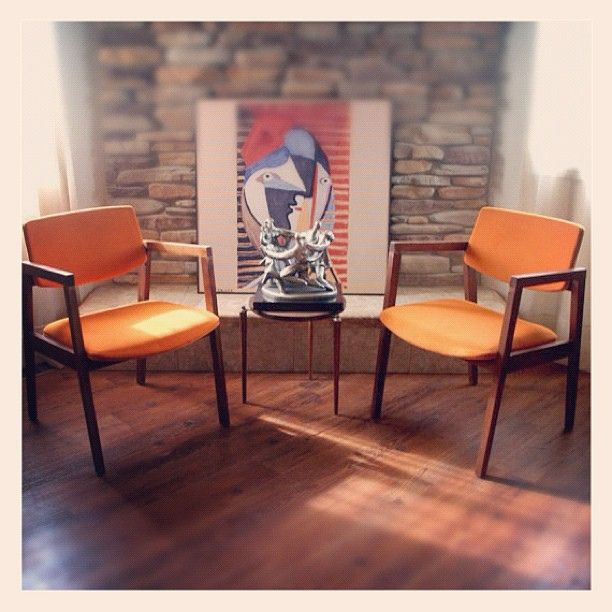 Mid Century Modern Chairs Burnt Orange Danish Modern Style Side