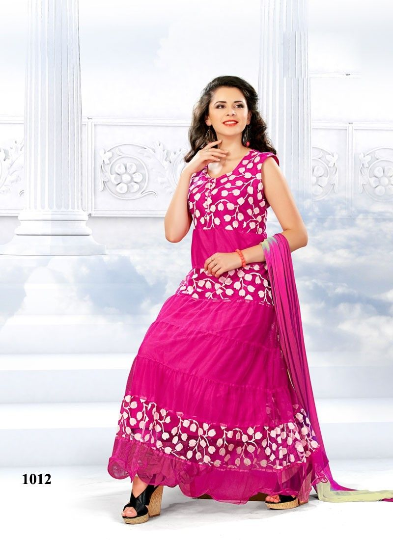 VandV Fashionable Designer Long Pink Anarkali Suits