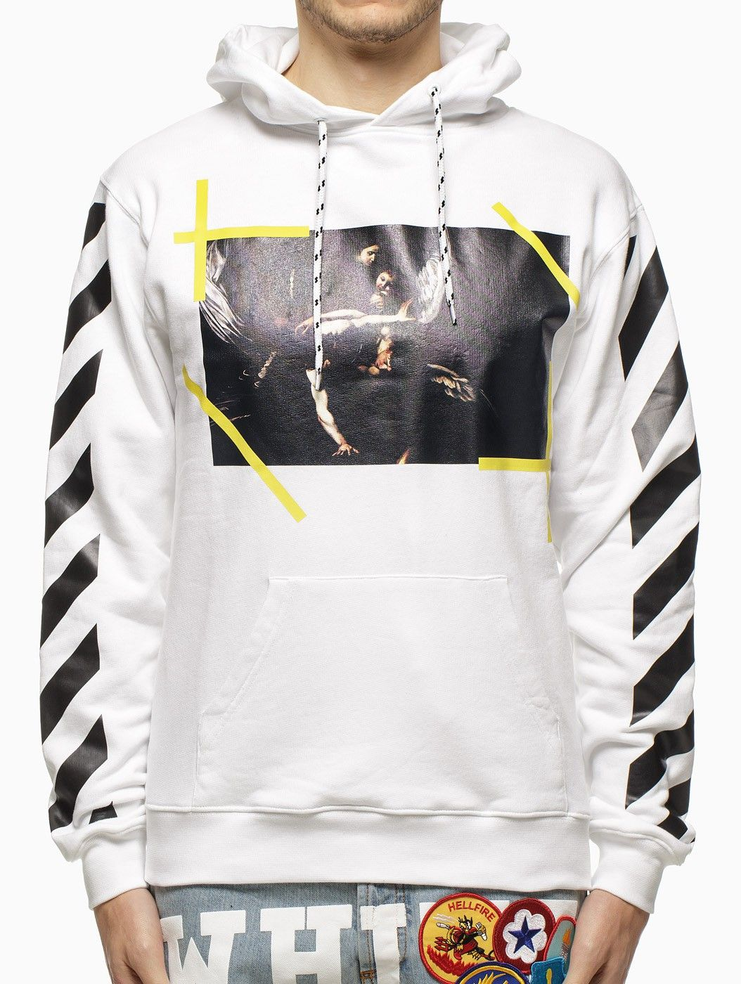 """c38982bde6c3 """"Caravaggio"""" hooded sweatshirt from the S S2015 Off-White c o Virgil Abloh  collection in white."""
