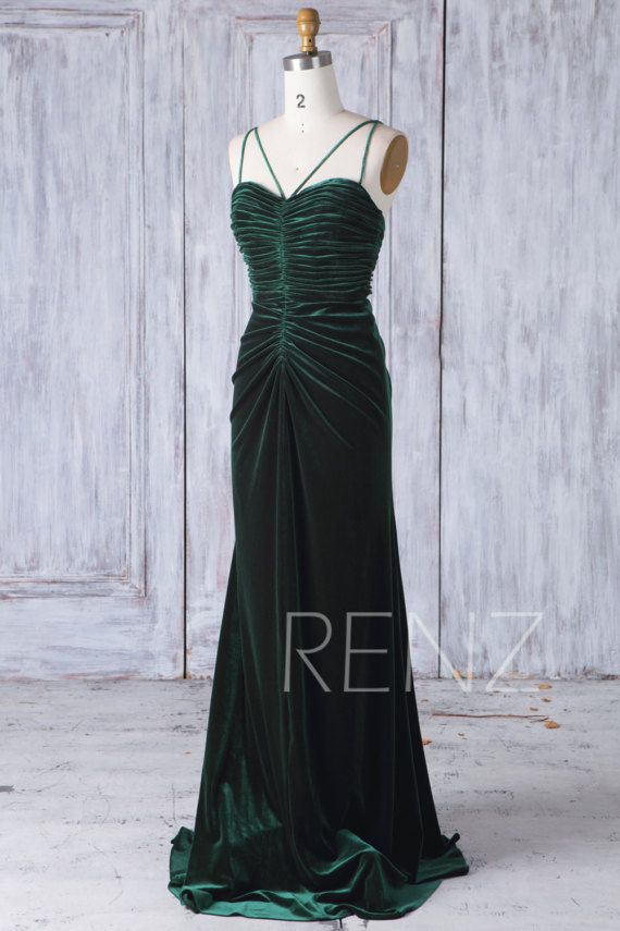 ef35d2b223 2017 Dark Green Velvet Bridesmaid Dress Ruched Bodice by RenzRags