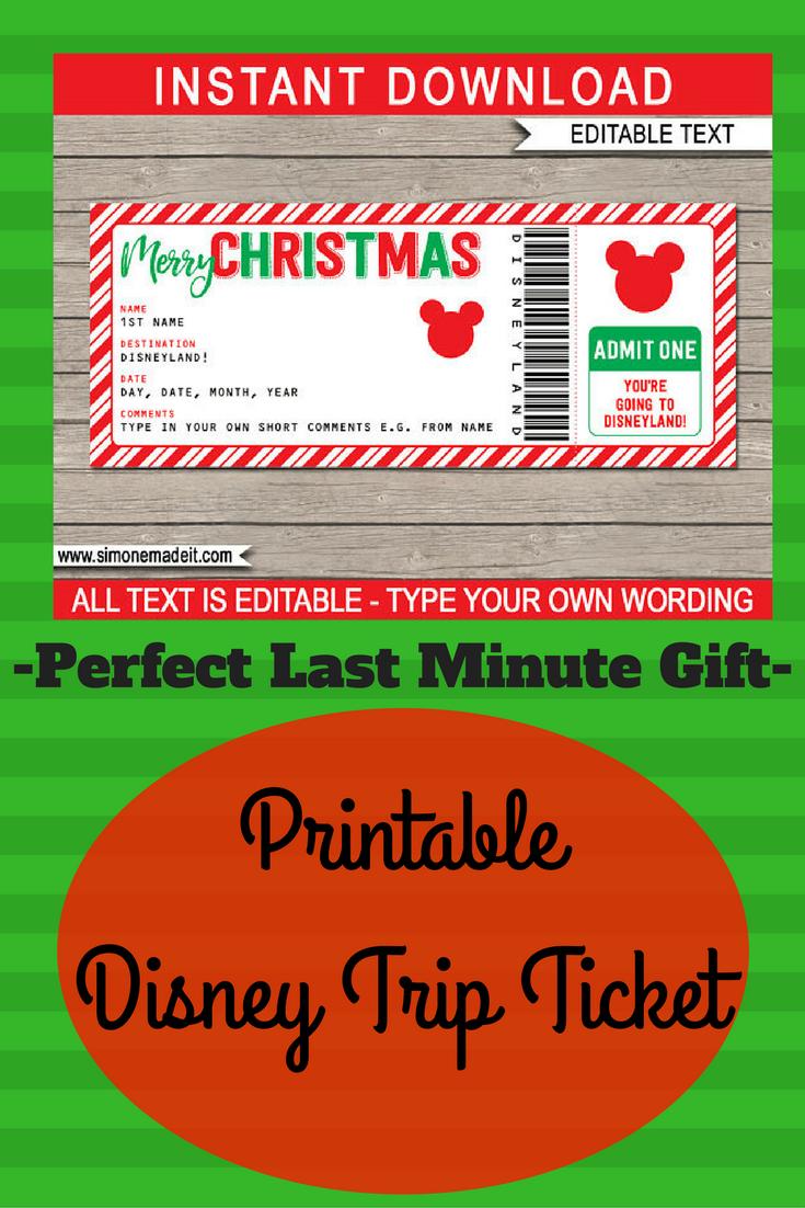 Christmas Disneyland Trip - Printable Ticket - Surprise Trip to ...