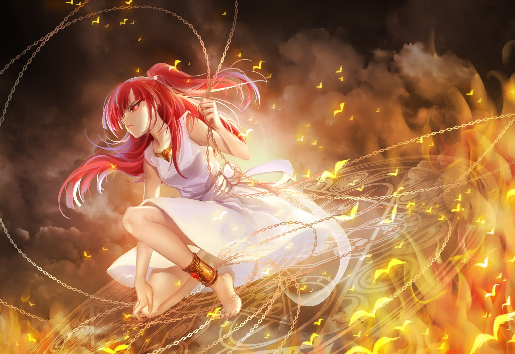 Red Haired Female Character Wallpaper Magi The Labyrinth Of Magic Morgiana Girl Anime Dress Fire Birds 1080p Wallpa Anime Magi Magi Character Wallpaper