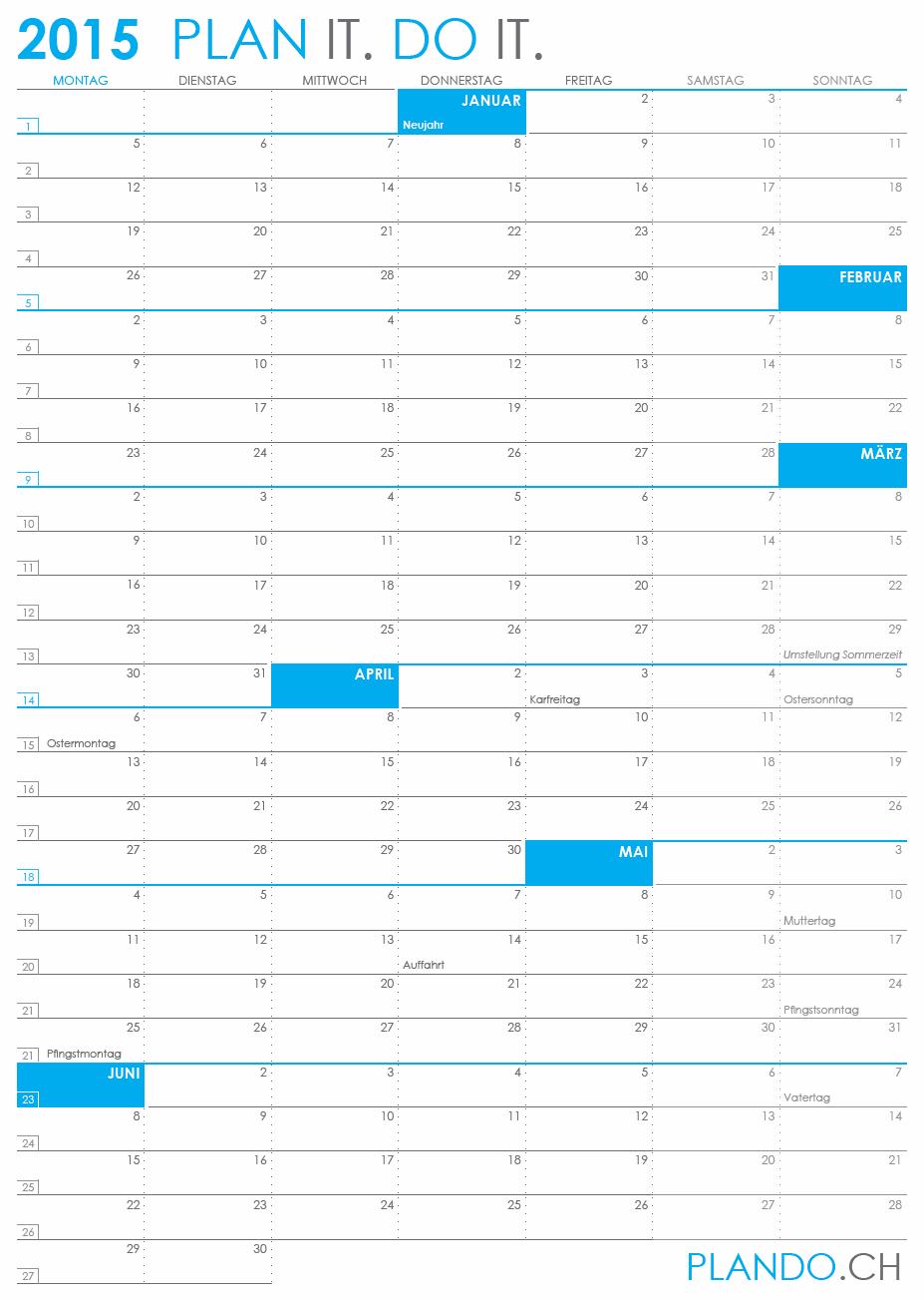Halbjahreskalender 2015 im Hochformat als PDF herunterladen und ausdrucken   PLANDO.CH #Kalender