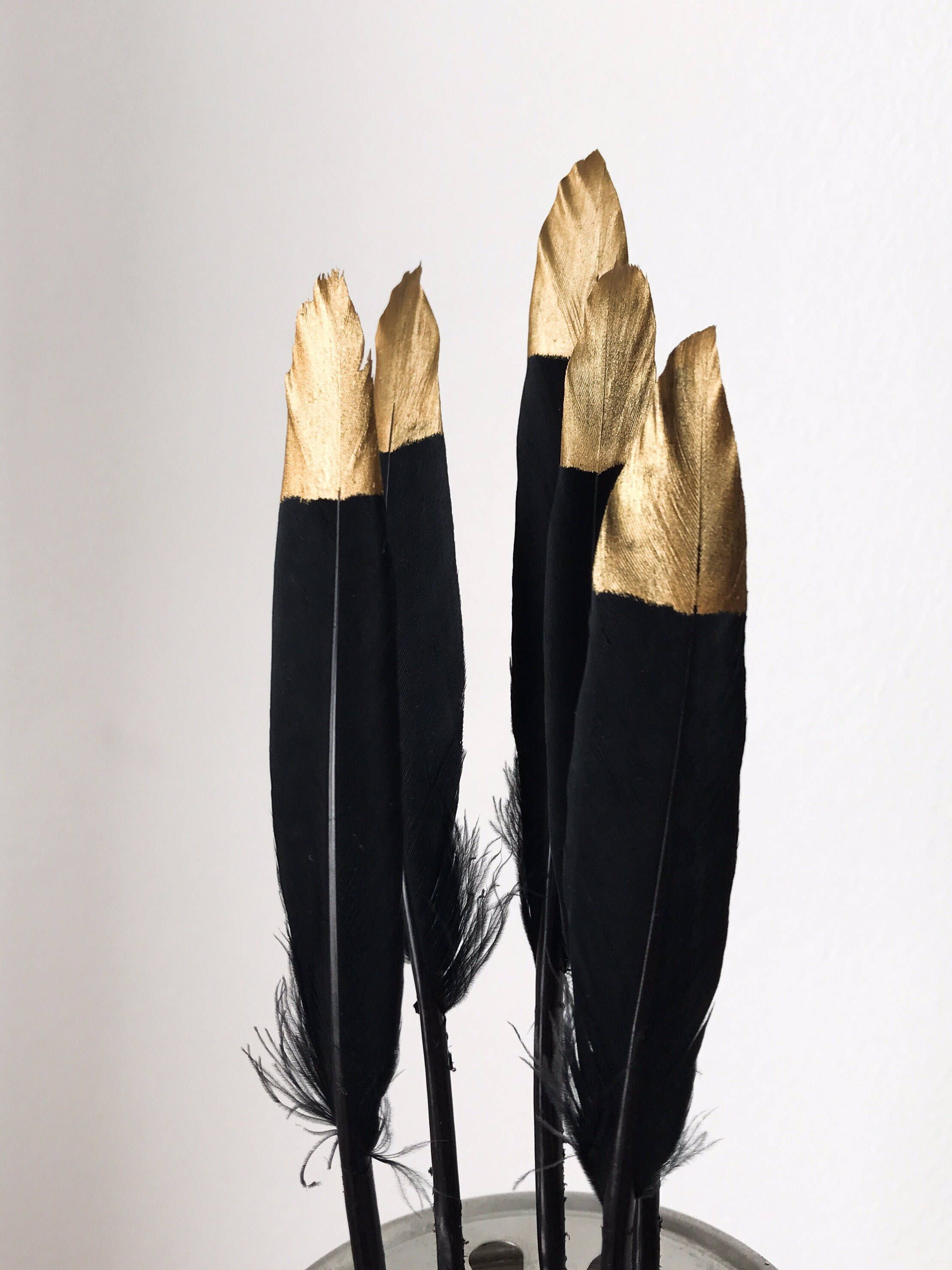"dream catchers Hand Painted Gold Tipped Black Feathers 4-6/"" Great for weddings"
