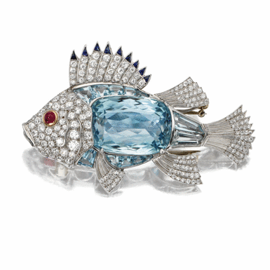 Aquamarine and diamond fish brooch