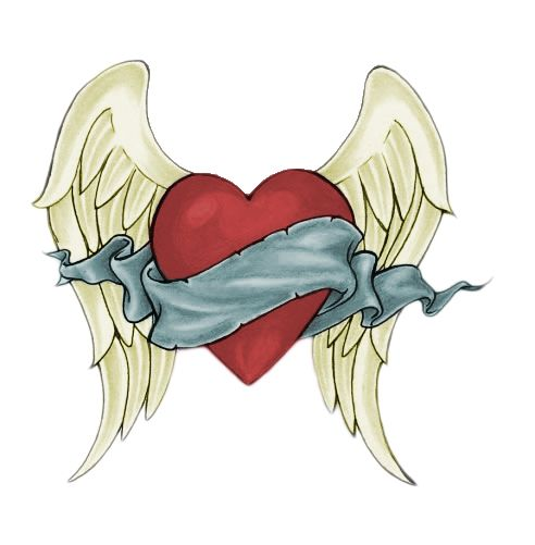 how to draw a heart with wings and a rose