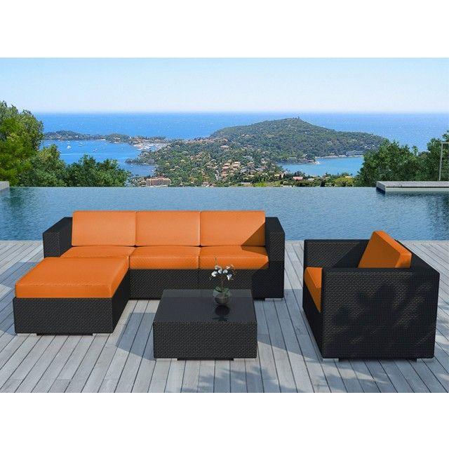 Salon de jardin Miami en résine tressée noire, coussins orange ...