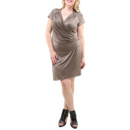 24/7 Comfort Apparel Women's Plus Size Cap Sleeve Faux Wrap Knee-Length Dress, Size: 2XL, Gray