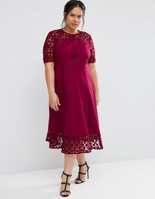 7d364de59d6 CURVE PREMIUM Lace Insert Full Midi Dress