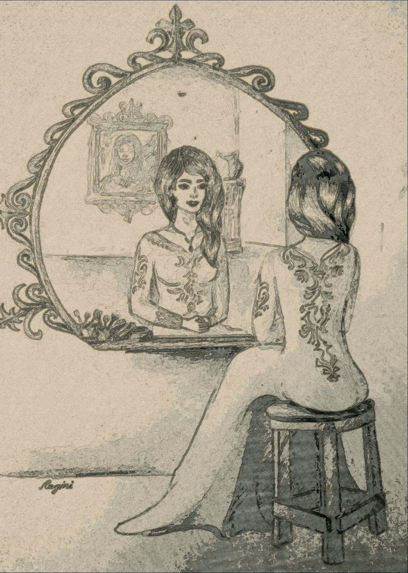 Pencil sketch own imaginationmirror reflection drawing etc