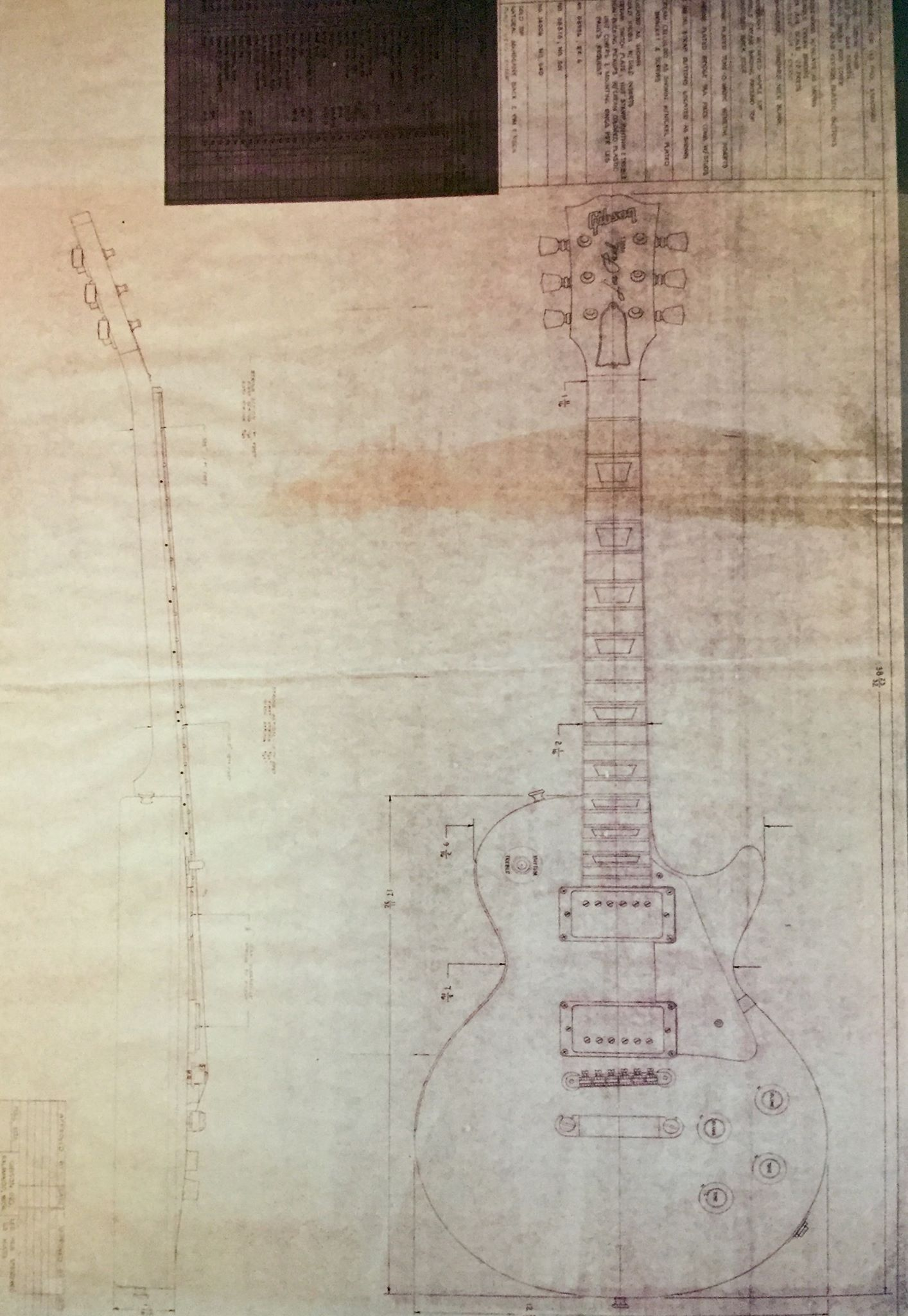 Full scale schematic blue print with full specs of the Les Paul ...