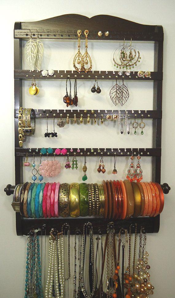 Jewelry Organizer Bangle Bracelet Rod Holder Holds Earring - Bangle bracelet storage ideas