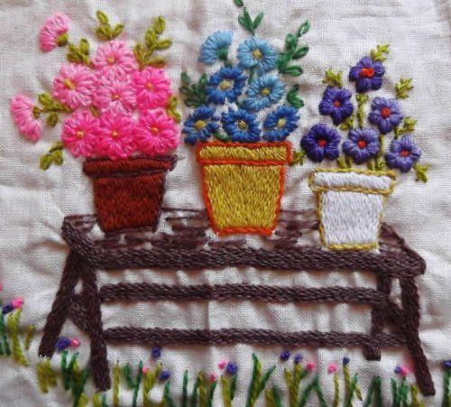Garden Bench Vintage Floral Flowers Finished Completed Sampler Crewel Embroidery