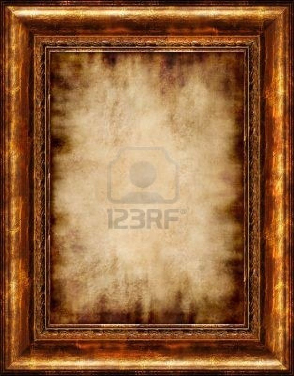 Antique burnt stylish parchment background in rustic wooden frame ...