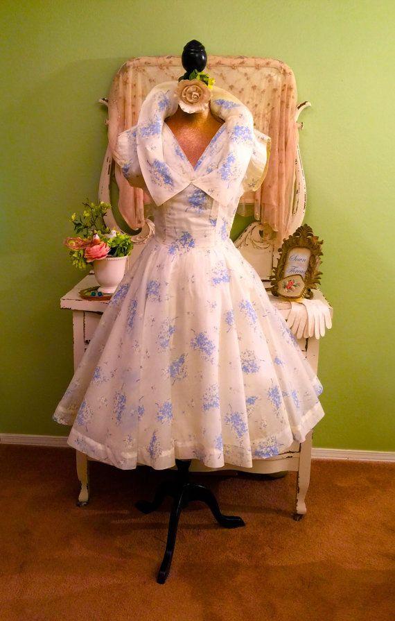 Chiffon 50s Dress, Blue Sheer Prom Dress, 1950s Cream Cupcake, S, XS ...