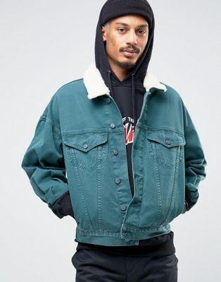 ASOS Oversized Denim Jacket in Bottle Green With Borg Collar