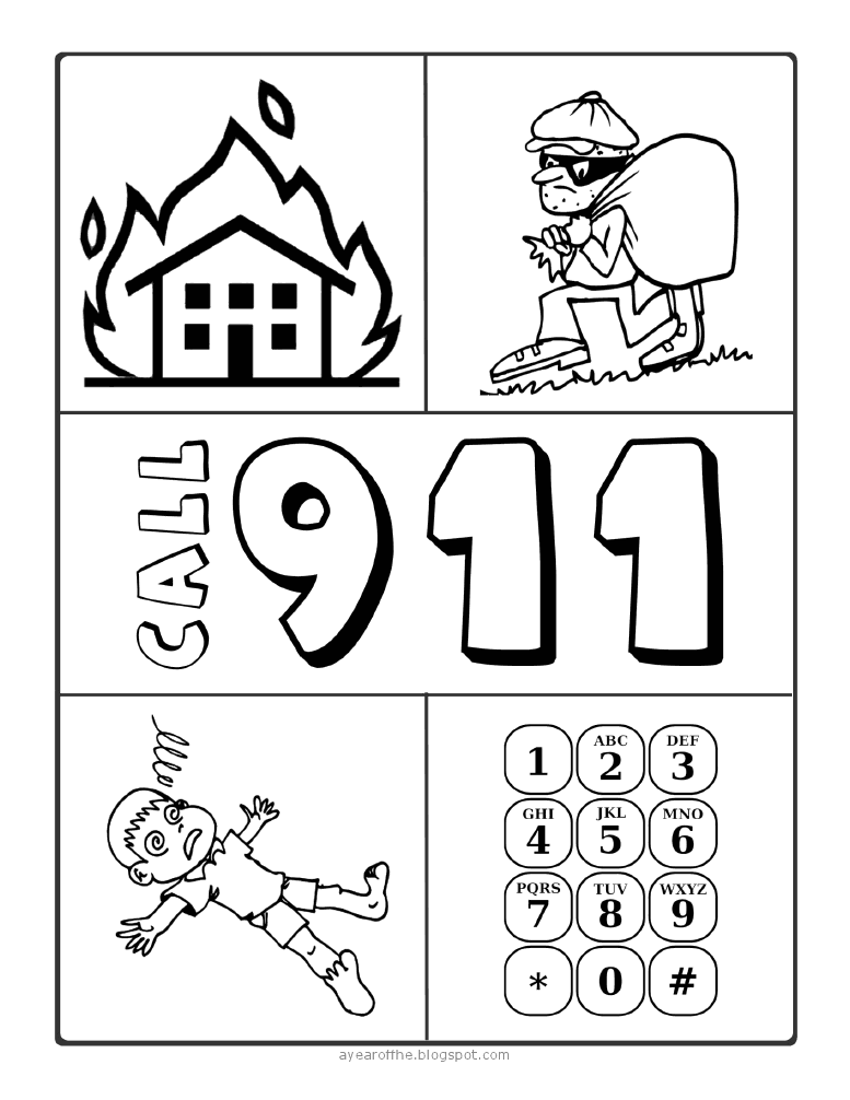 911 coloring page teaching pinterest coloring pages for Emergency coloring pages