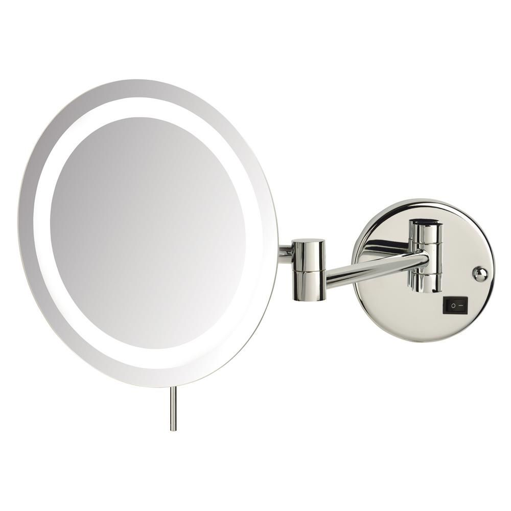 Sharper Image 10 In X 11 In Single Led Lighted Wall Makeup Mirror Jrt718cl The Home Depot Wall Mounted Makeup Mirror Lighted Wall Mirror Mirror Wall