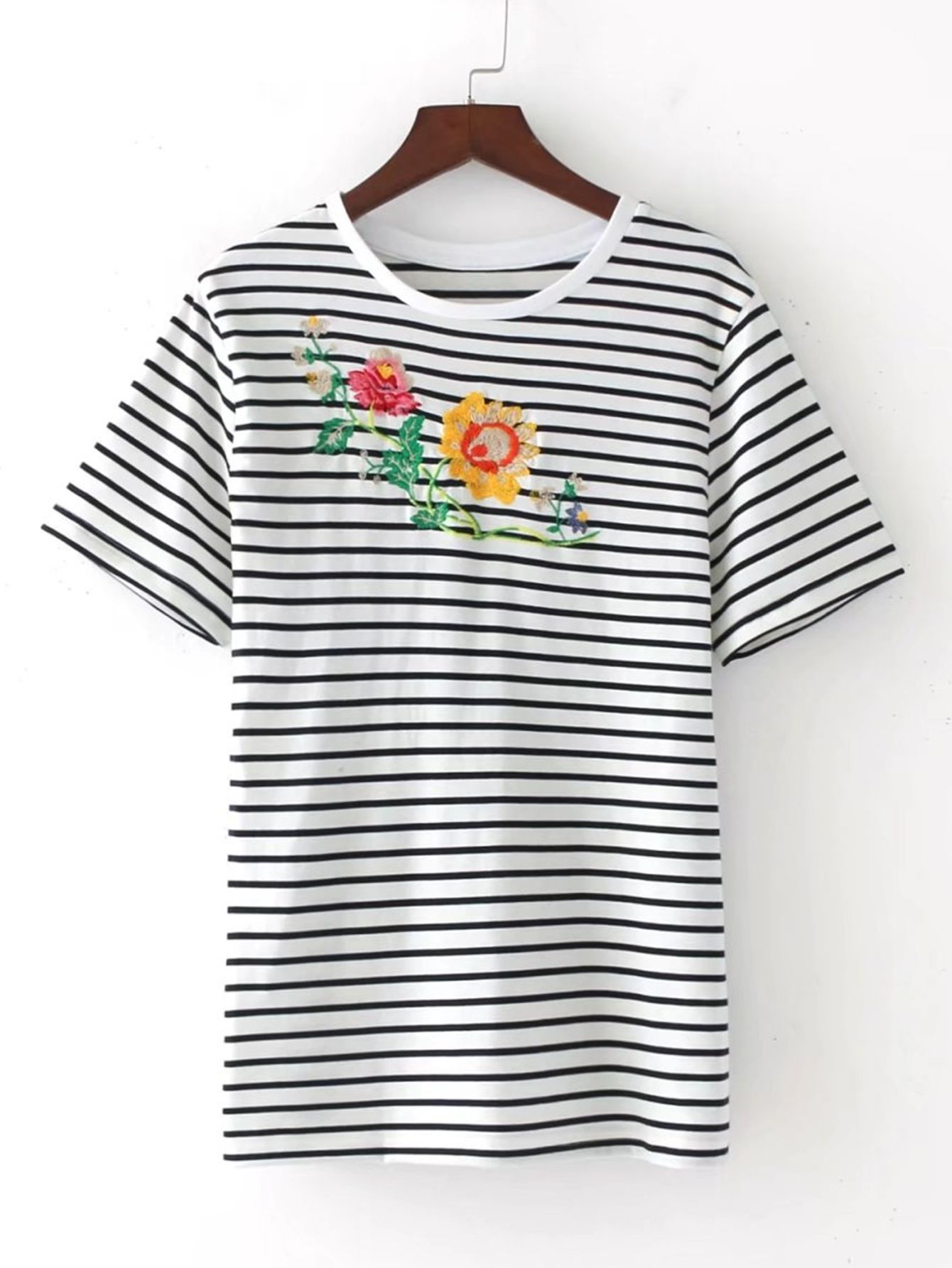 aeab3c0f13 Shop Contrast Striped Embroidery Tee online. SheIn offers Contrast Striped  Embroidery Tee & more to fit your fashionable needs.