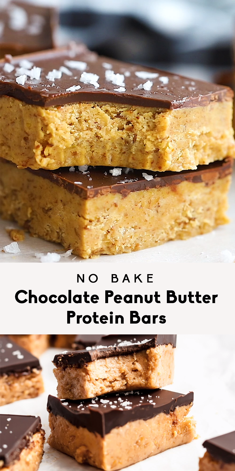 No Bake Chocolate Peanut Butter Protein Bars #peanutrecipes