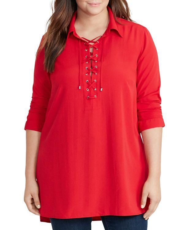 e583c803e95 Lauren Ralph Lauren Plus Lace-Up Crepe Tunic | Products
