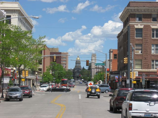 Looking north on Capitol Ave in Cheyenne WY at the Capitol Dome