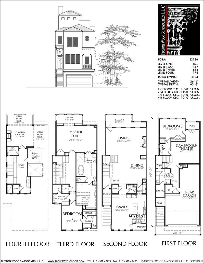 3 1 2 Story Townhouse Plan E2126 Narrow Lot House Plans Contemporary House Plans House Floor Plans