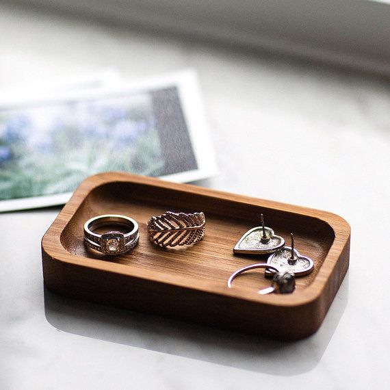 7afa2fbf5c Ring Holder Bamboo Ring Dish In Stock and Ships by HookAndStemCo ...