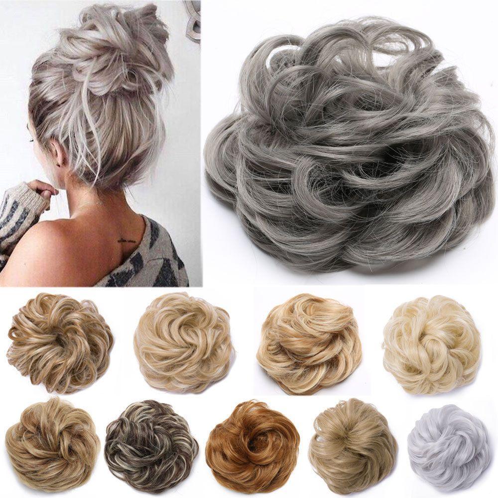 Real Natural Curly Messy Bun Hair Piece Scrunchie Hair Extensions Chignon Grey H Bun Hair Piece Scrunchie Hairstyles Bun Hairstyles
