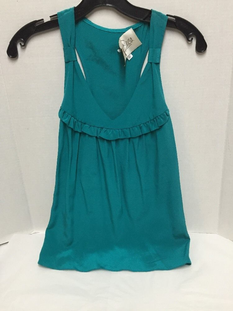 Rory Beca Top Size Medium Turquoise Sleeveless 100% Silk #RoryBecker #Blouse #Casual