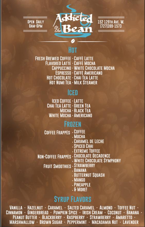 Addicted To The Bean Menu Yelp Latte Flavors Caffe Mocha Tea Latte