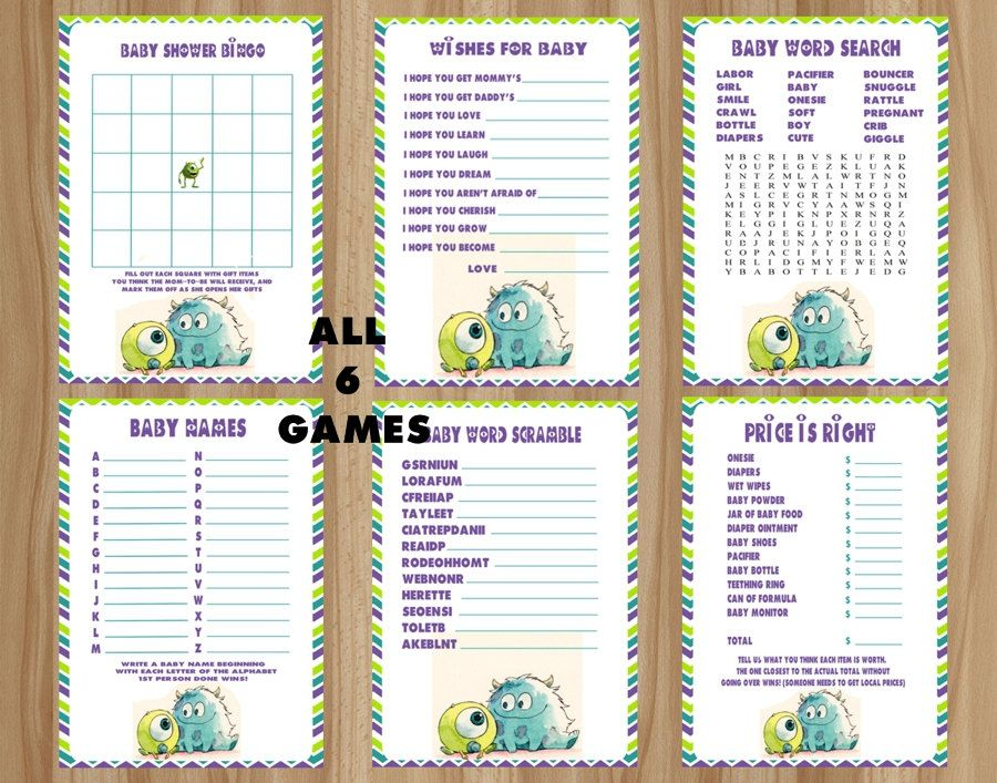 #Monsters Inc Baby #Shower Games Package, #Monsters Inc Baby #Shower Games