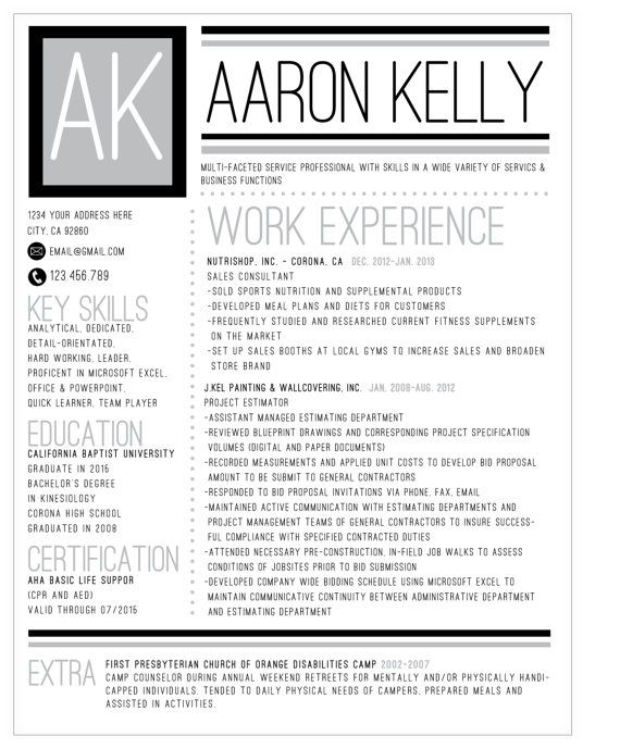 Black and White Bold Custom Initial Resume on Etsy, $2500 - quick learner resume