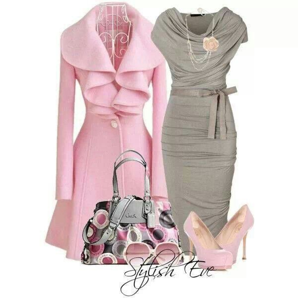 Pink coat, grey dress. Just enough statement with all of the class.