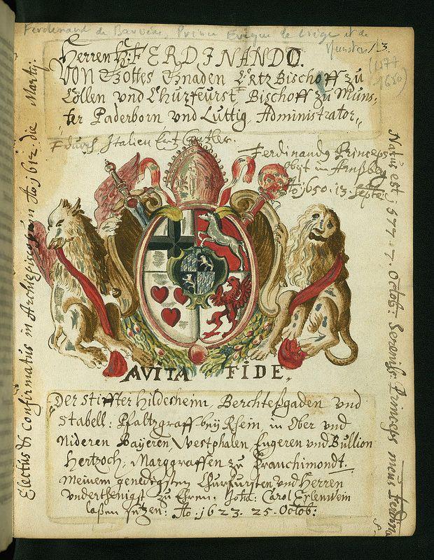 Liber amicorum of Joannes Carolus Erlenwein, Arms of Ferdinand of Bavaria, archbishop of Cologne, Walters Manuscript