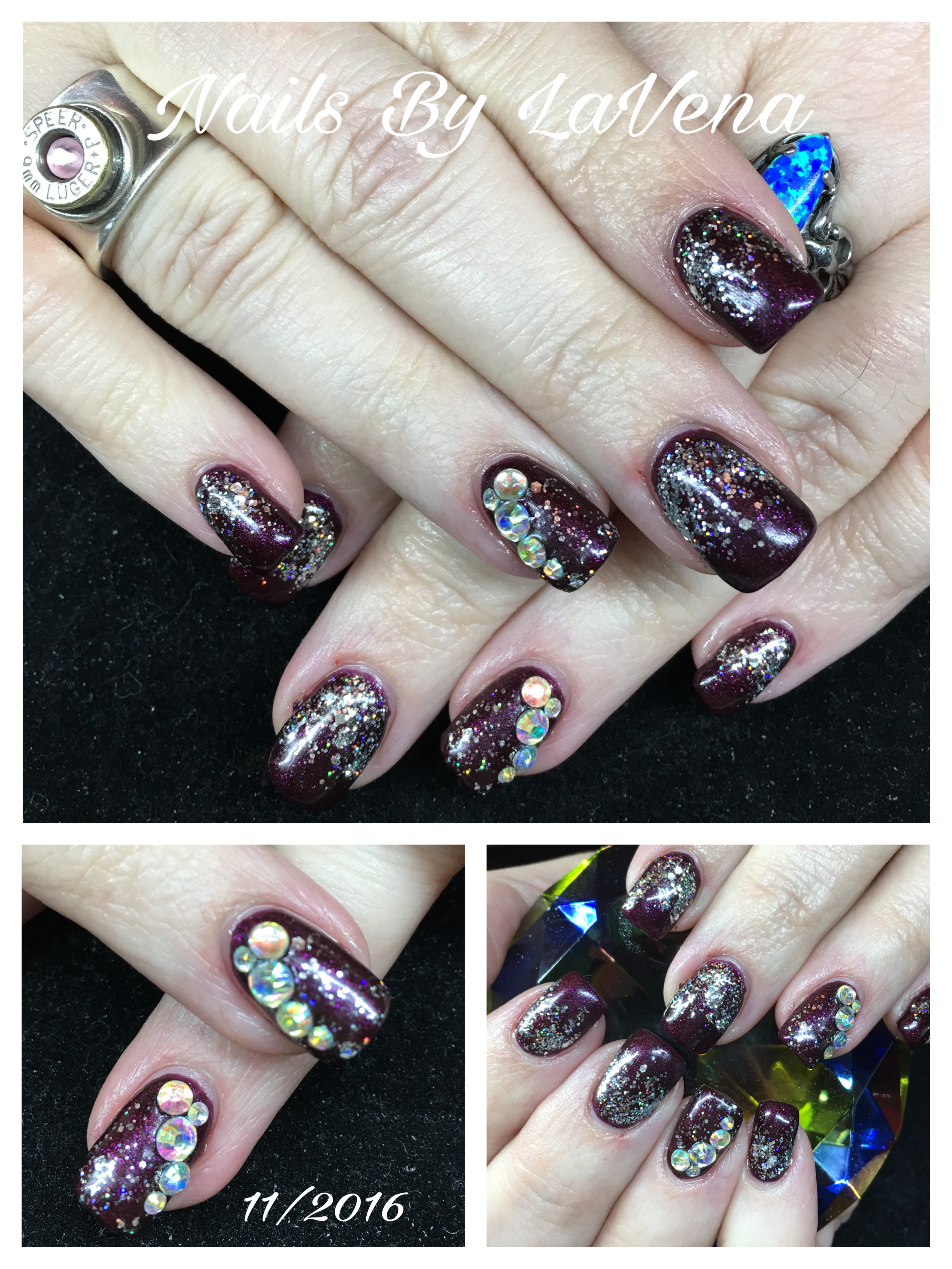 Acrylic with rhinestones and gel polish nails by lavena pinterest