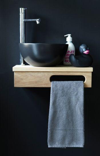 Badezimmer Waschtisch Holz Schwarze Waschschussel Kleines Bad