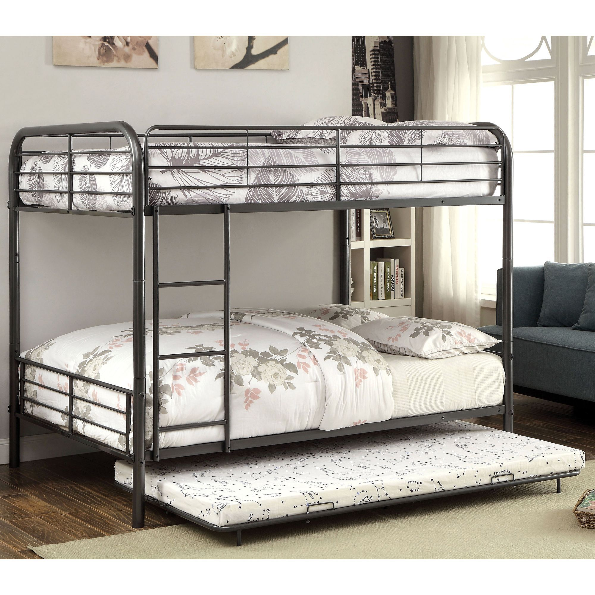 Furniture Of America Linden Ii 2 Piece Over Bunk Bed With Trundle